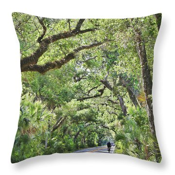 Riding The Ormond Loop Throw Pillow by Deborah Benoit