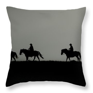 Riding The Range At Sunrise Throw Pillow