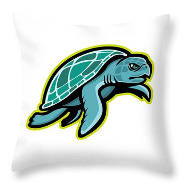 Ridley Sea Turtle Mascot Throw Pillow
