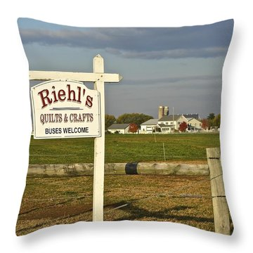 Riehl's Quilts And Crafts Throw Pillow