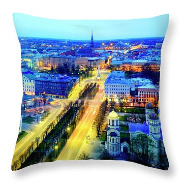 Throw Pillow featuring the photograph Riga by Fabrizio Troiani