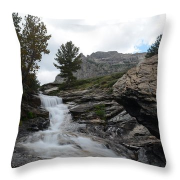 Right Fork Waterfall Throw Pillow
