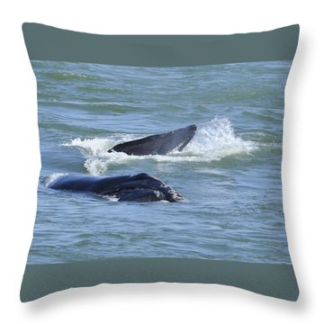 Right Whale Head And Tail Throw Pillow