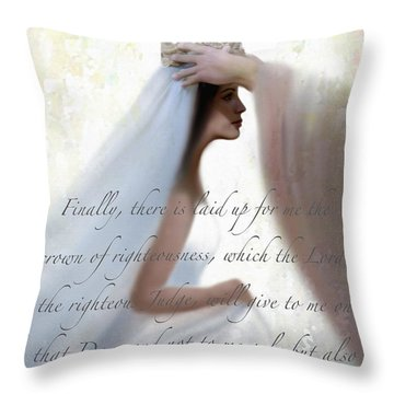 Righteous Crown With Scripture Throw Pillow