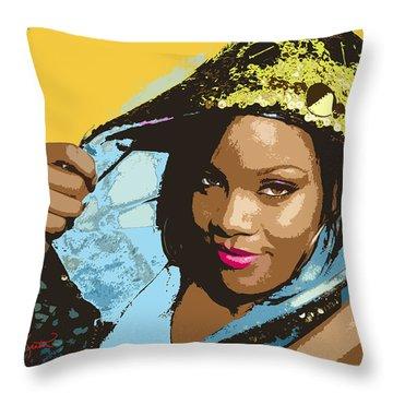 Rihanna Throw Pillow by John Keaton