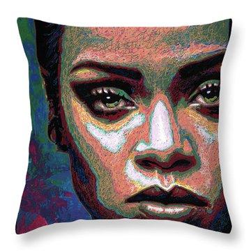 Rihanna Throw Pillow by Maria Arango