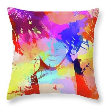 Rihanna Paint Splatter Throw Pillow by Dan Sproul