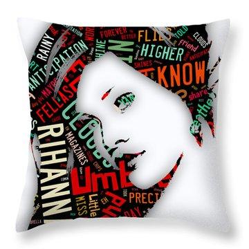 Rihanna Umbrella Lyrics Throw Pillow