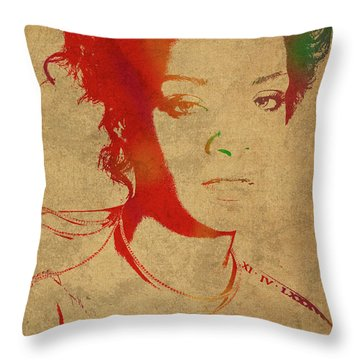 Rihanna Watercolor Portrait Throw Pillow by Design Turnpike