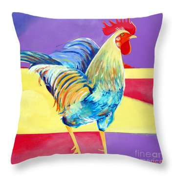 Riley The Rooster Throw Pillow by Christine Belt