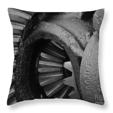 Ring And Pinion Bw Throw Pillow by Chalet Roome-Rigdon