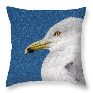 Throw Pillow featuring the mixed media Ring-billed Gull Oil Portrait by Onyonet  Photo Studios
