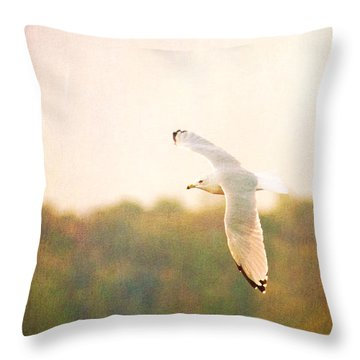 Throw Pillow featuring the photograph Ring Billed Gulled by Heidi Hermes