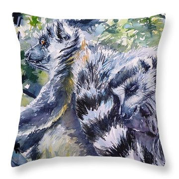 Ring-tailed Throw Pillows