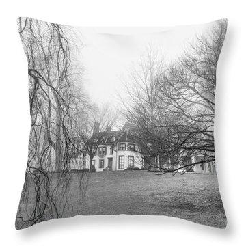 Ringwood Manor On A Foggy Morn Throw Pillow