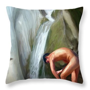 Rinsing Off Throw Pillow by Snake Jagger