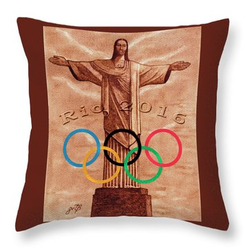 Throw Pillow featuring the painting Rio 2016 Christ The Redeemer Statue Artwork by Georgeta Blanaru