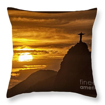 Throw Pillow featuring the photograph Rio De Janeiro Christ Statue by Juergen Held