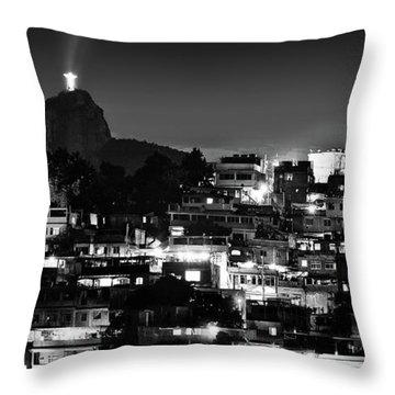 Rio De Janeiro - Christ The Redeemer On Corcovado, Mountains And Slums Throw Pillow