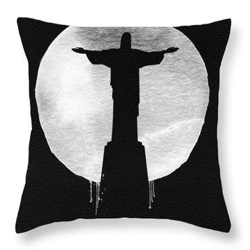 Rio De Janeiro Landmark Black Throw Pillow