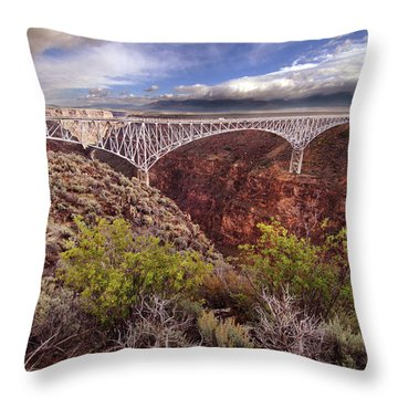 Rio Grande Gorge Bridge Throw Pillow by Jill Battaglia