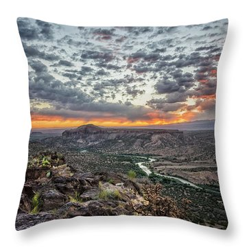 Rio Grande River Sunrise 2 - White Rock New Mexico Throw Pillow by Brian Harig