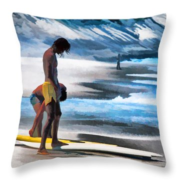 Rio Surfers Throw Pillow by Dennis Cox
