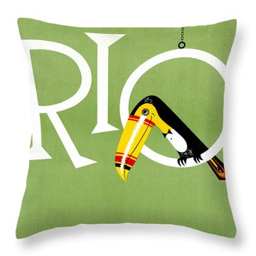 Rio Vintage Travel Poster Restored Throw Pillow