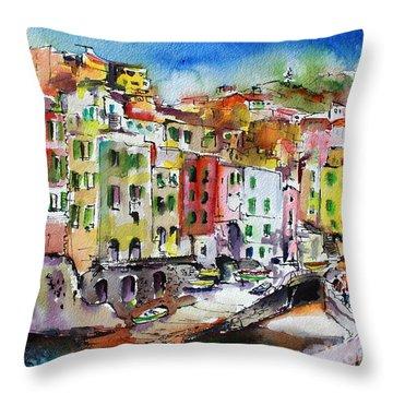 Riomaggiore Cinque Terre Throw Pillow by Ginette Callaway