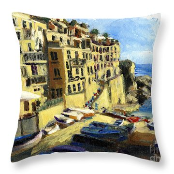 Riomaggiore Italy Late Afternoon Throw Pillow