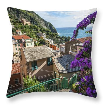 Riomaggiore Town Throw Pillow