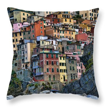 Riomaggiore Throw Pillow by Vickie Bushnell