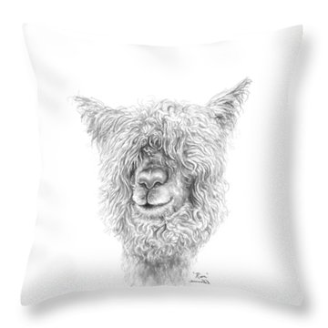 Throw Pillow featuring the drawing Rion by K Llamas