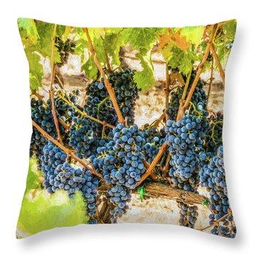 Ripe Grapes On Vine Throw Pillow