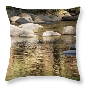 Throw Pillow featuring the photograph Ripples And Rocks by Linda Lees