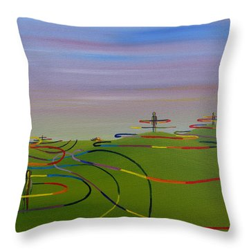 Throw Pillow featuring the painting Ripples Of Life 1.2 by Tim Mullaney