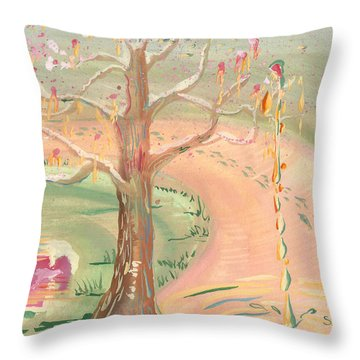 Ripples Of Spring Throw Pillow