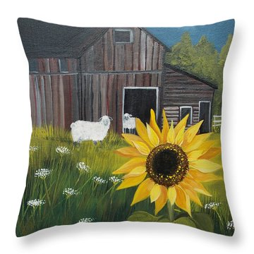 Throw Pillow featuring the painting Rise And Shine by Virginia Coyle