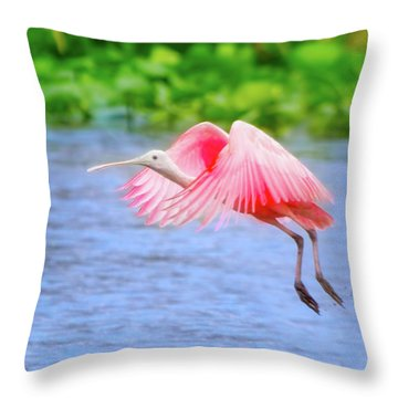 Rise Of The Spoonbill Throw Pillow by Mark Andrew Thomas