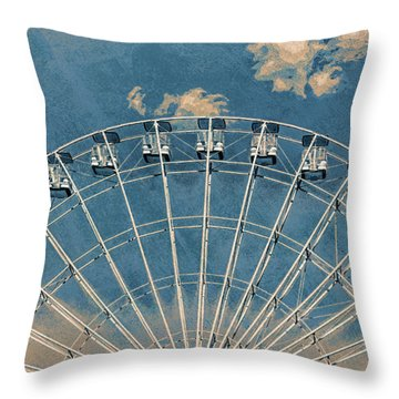 Rise Up Ferris Wheel In The Clouds Throw Pillow by Terry DeLuco