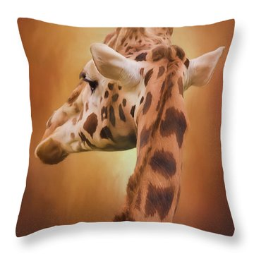 Rising Above - Giraffe Art Throw Pillow