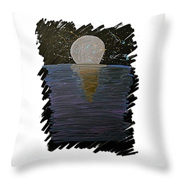 Throw Pillow featuring the drawing Rising Moon by Bee-Bee Deigner