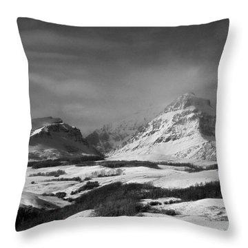 Rising Wolf Mountain- Winter - Black And White Throw Pillow