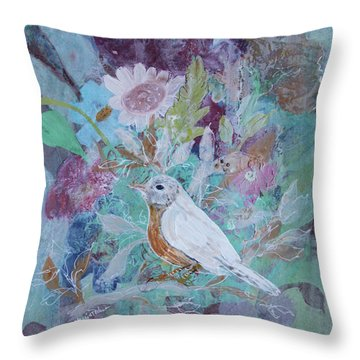 Throw Pillow featuring the painting Risky Robin by Robin Maria Pedrero