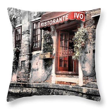 Ristorante On The Canals Throw Pillow by Greg Sharpe
