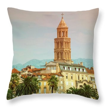 Riva Waterfront, Houses And Cathedral Of Saint Domnius, Dujam, D Throw Pillow