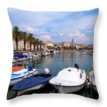 Riva Waterfront, Houses And Cathedral Of Saint Domnius, Dujam, Duje, Bell Tower Old Town, Split, Croatia Throw Pillow by Elenarts - Elena Duvernay photo