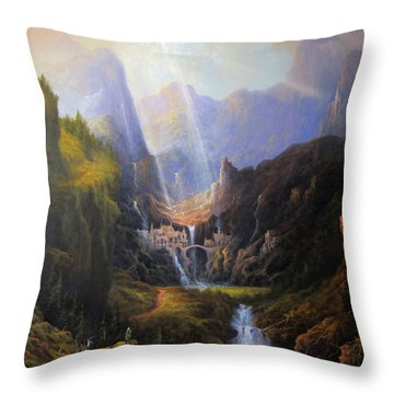 Rivendell. The Last Homely House.  Throw Pillow by Joe Gilronan