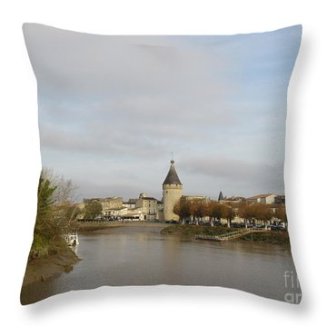 River Arrival To Libourne Throw Pillow