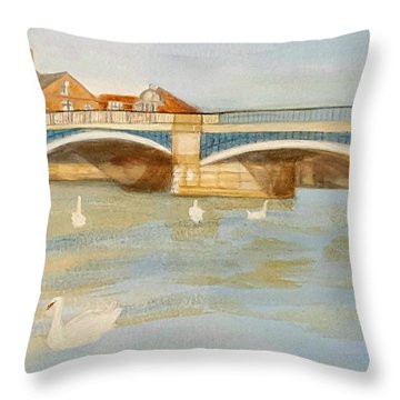 River At Royal Windsor Throw Pillow by Joanne Perkins